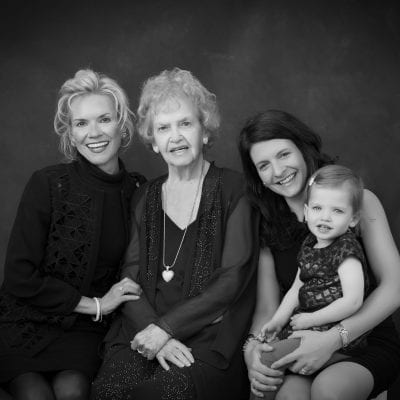 Fine art four generations studio portrait. Black and white.