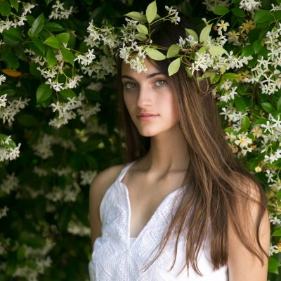 High School Senior portrait. Using natural light in a fashion inspired style. Flower crown.